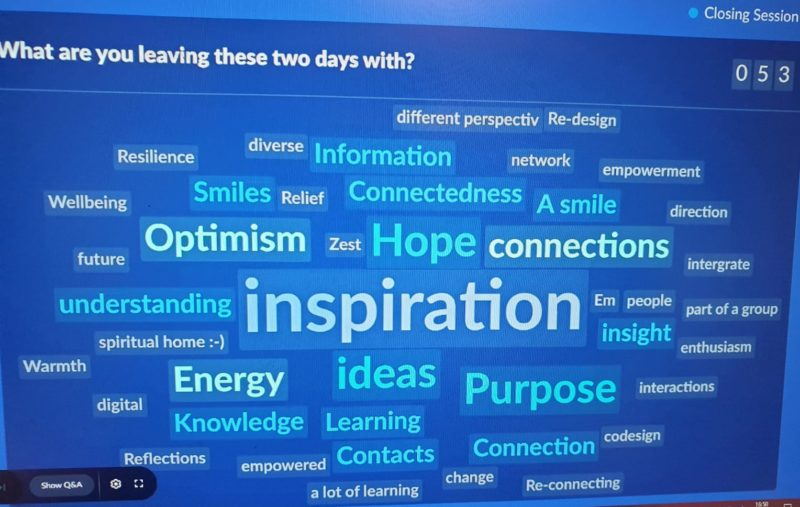 Word cloud from the closing session of the Q event 2020