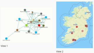 Image of the Q Ireland Network Map, showing both a view of connected profiles and the map of Ireland showing the spread of users.